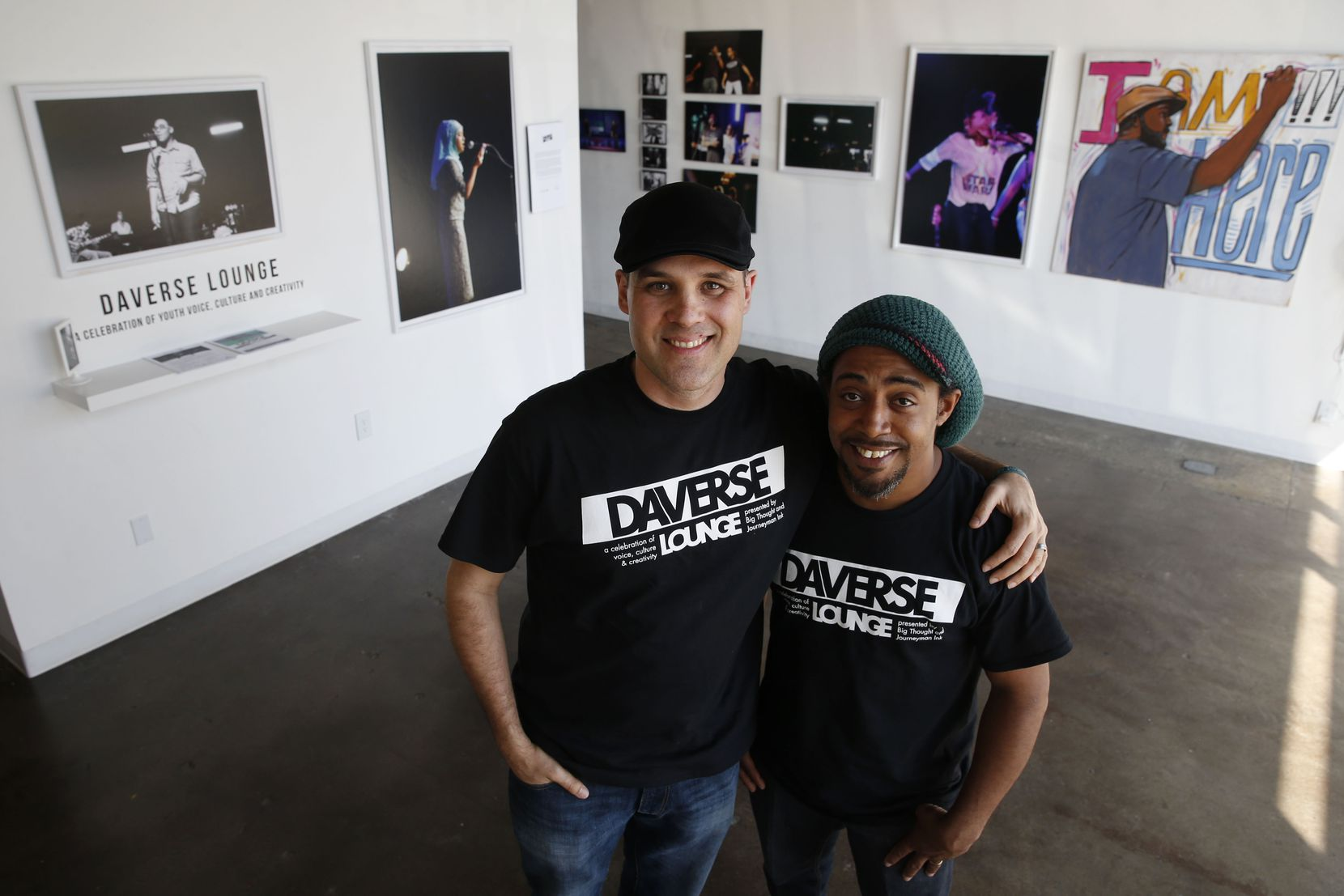 DaVerse Lounge's Will Richey (left) and Alejandro Perez, Jr.  in the gallery area of the Life in Deep Ellum building in Dallas.