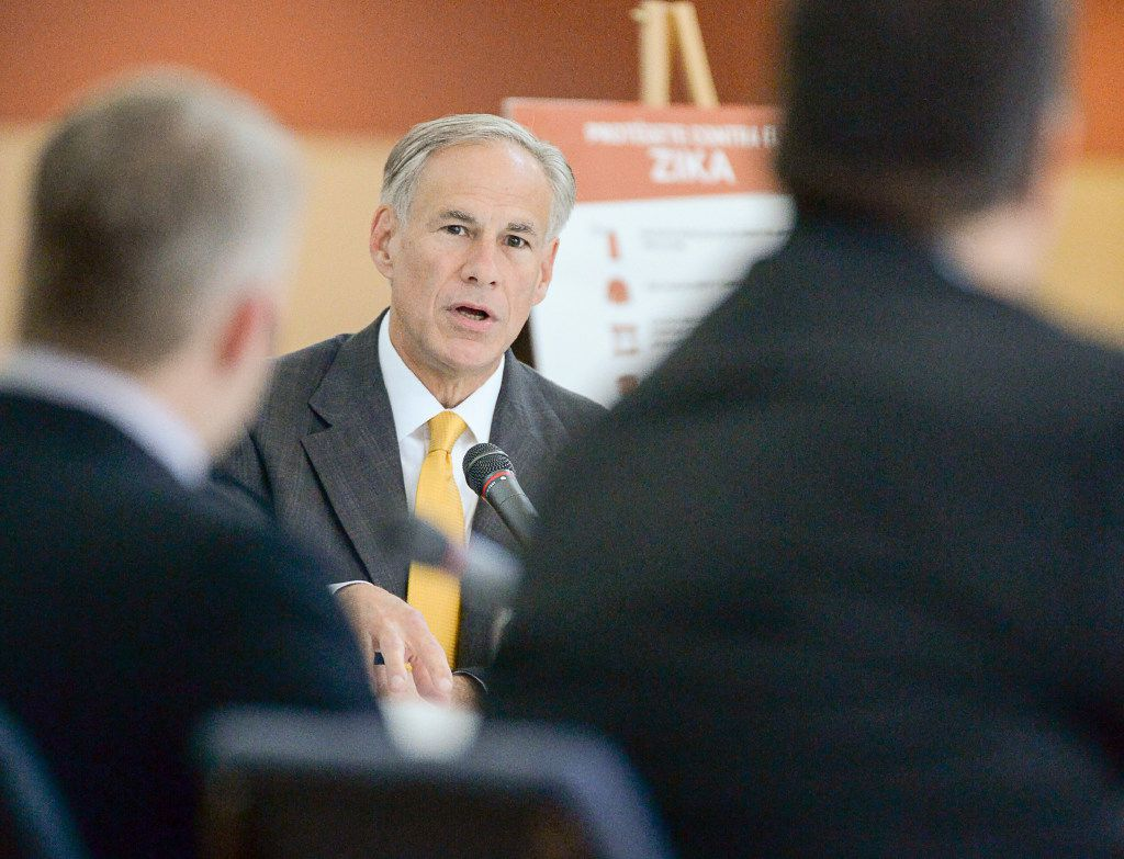 Gov. Greg Abbott speaks while hosting a Zika prevention roundtable with community leaders and health officials at the University of Texas Rio Grande Valley on Friday, May 5, 2017, in Brownsville, Texas. The Texas Department of State Health Services reported the state's first mosquito-borne case of the Zika Virus in Brownsville in November 2016, prompting precautionary guidance from the CDC regarding travel to the South Texas city. (Jason Hoekema/The Brownsville Herald via AP)