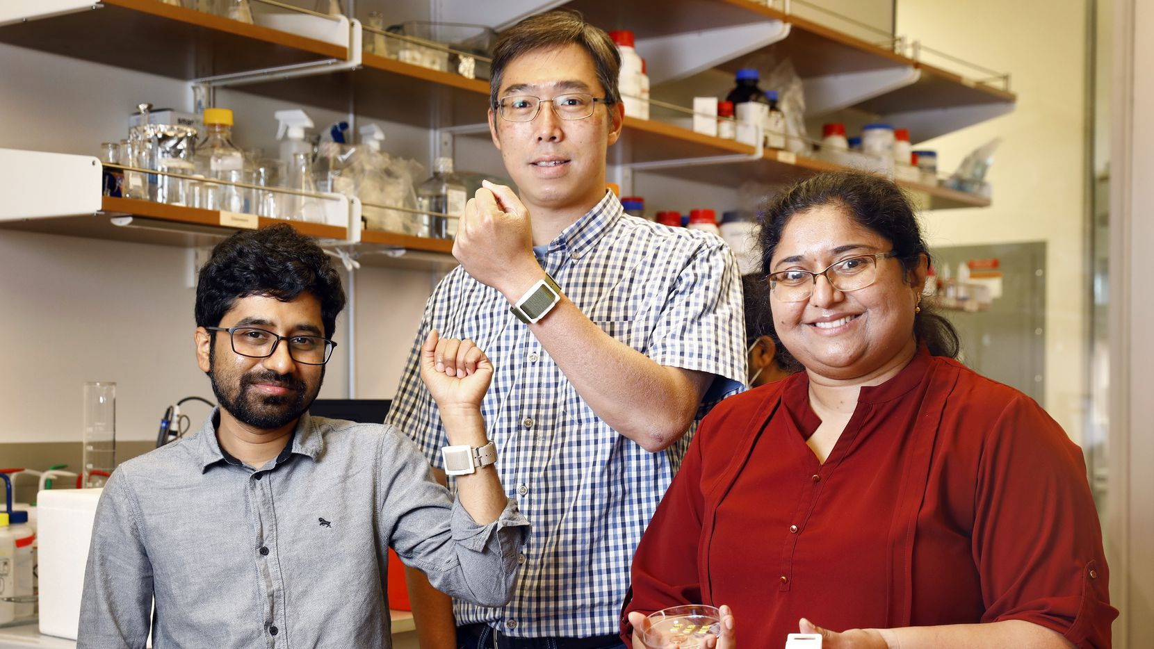 Dept of Bioengineering scientists at the University of Texas at Dallas, including (from left) doctoral candidate Badrinath Jagannath,  research scientist II Kai-Chun Lin and professor and co-founder of EnLisense LLC Shalini Prasad have developed wearable technology that can measure the amount of cytokines present in sweat. Cytokines are molecules that help the body fight off infections, like the flu or COVID-19. This technology to continuously monitor cytokine levels could help detect when a person is sick as soon as their immune system kicks into gear and potentially before they even start feeling symptoms. This research is being done at the Biomedical Microdevices and Nanotechnology Lab on the Richardson, Texas campus, Friday, June 25, 2021.