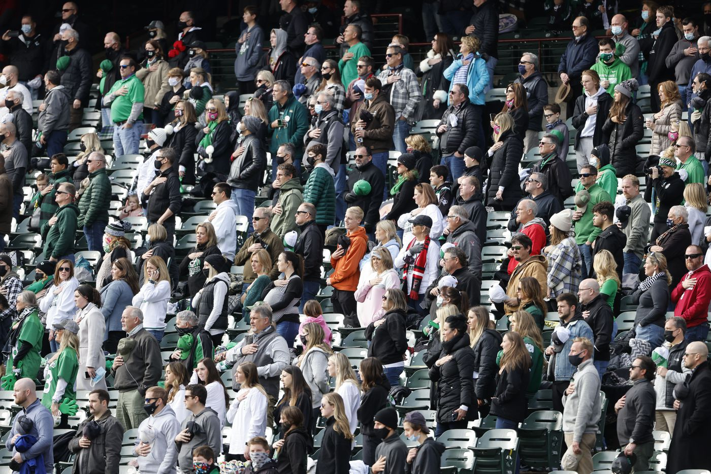 Southlake fans watched their team play during the Class 6A Division I Region I high school football final, in Arlington, Texas, on Jan. 2, 2020. (Michael Ainsworth/Special Contributor)