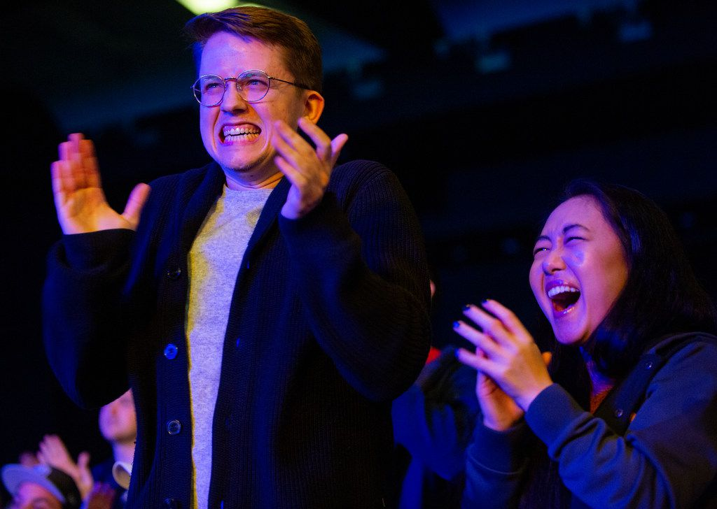 Oscar Vallner (left) and Daisy Wang from Dallas celebrate the Dallas Fuel's third map win during the season three opening weekend match of the Overwatch League against the San Francisco Shock on Feb. 9, 2020 at the Esports Stadium in Arlington. The Fuel lost 3-1. (Juan Figueroa/ The Dallas Morning News)