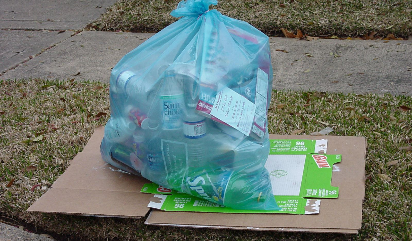 The kind of recycling bag used for Irving's curbside pickup.