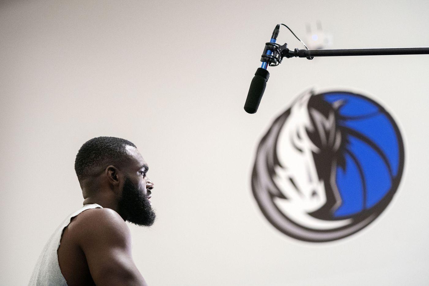Dallas Mavericks guard Tim Hardaway Jr. speaks to the media during a training camp practice Wednesday, September 29, 2021 at the Dallas Mavericks Training Center in Dallas. (Jeffrey McWhorter/Special Contributor)