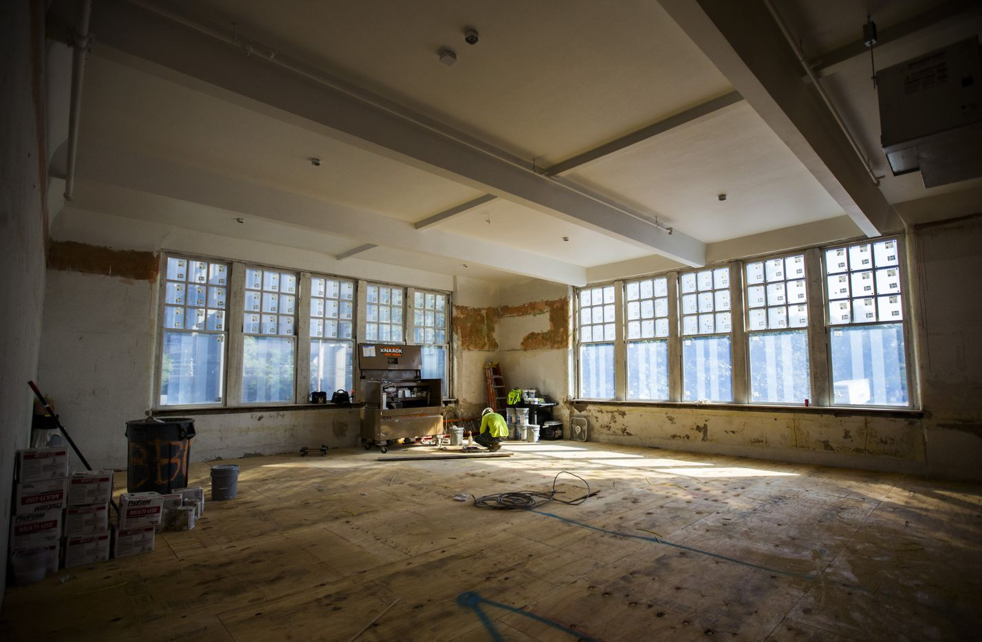 Former classrooms on the second and third floors of the old Dallas High School building have been refreshed with new plaster and windows.