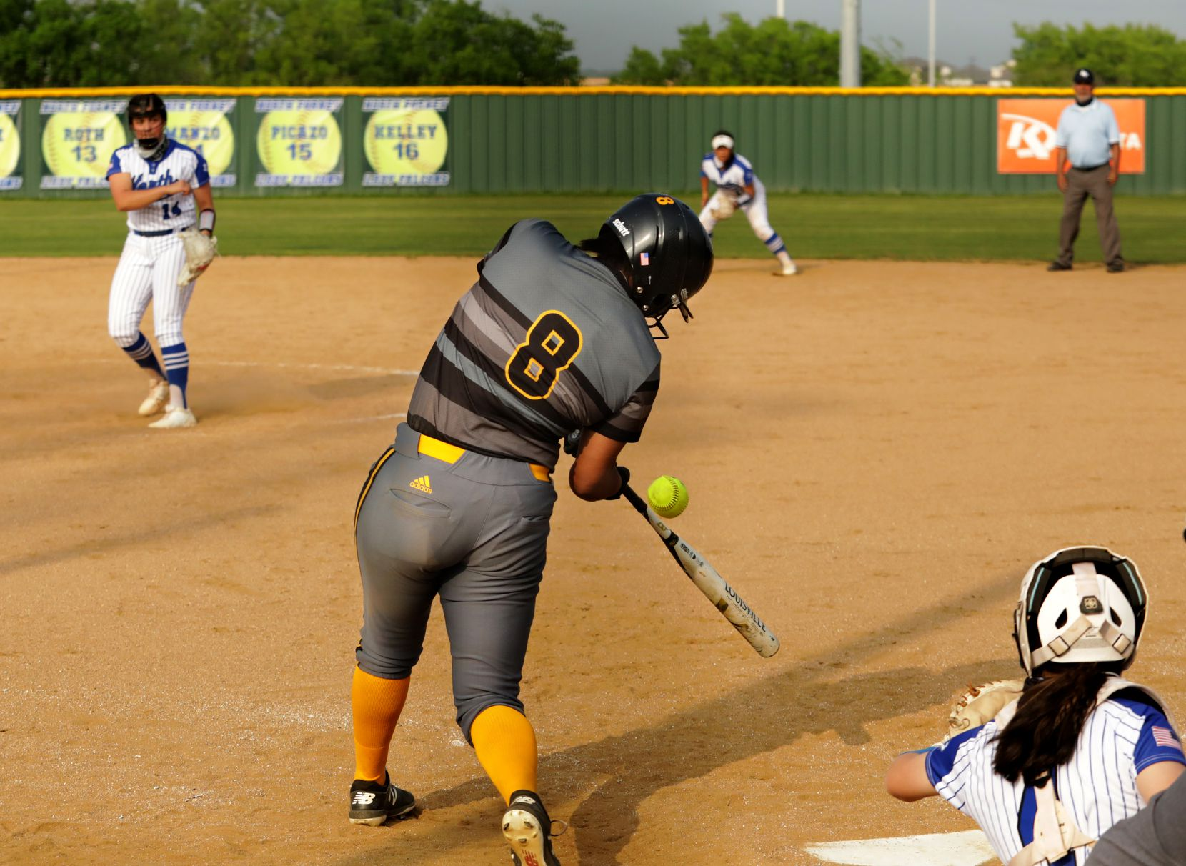 Vanessa Hollingsworth hits a homerun during a softball game between Forney at North Forney at North Forney High School in Forney, TX, on Apr. 9, 2021. (Jason Janik/Special Contributor)