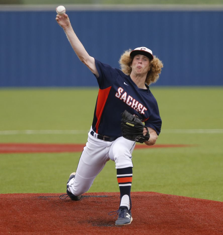 Sachse pitcher Jason Scraantom (12) throws a pitch in the first inning as Rockwall Heath High School hosted Sachse High School in a game three of a three game series to determine the 6A Region II quarterfinals at Wylie East High School on Saturday, May 22, 2021. (Stewart F. House/Special Contributor)