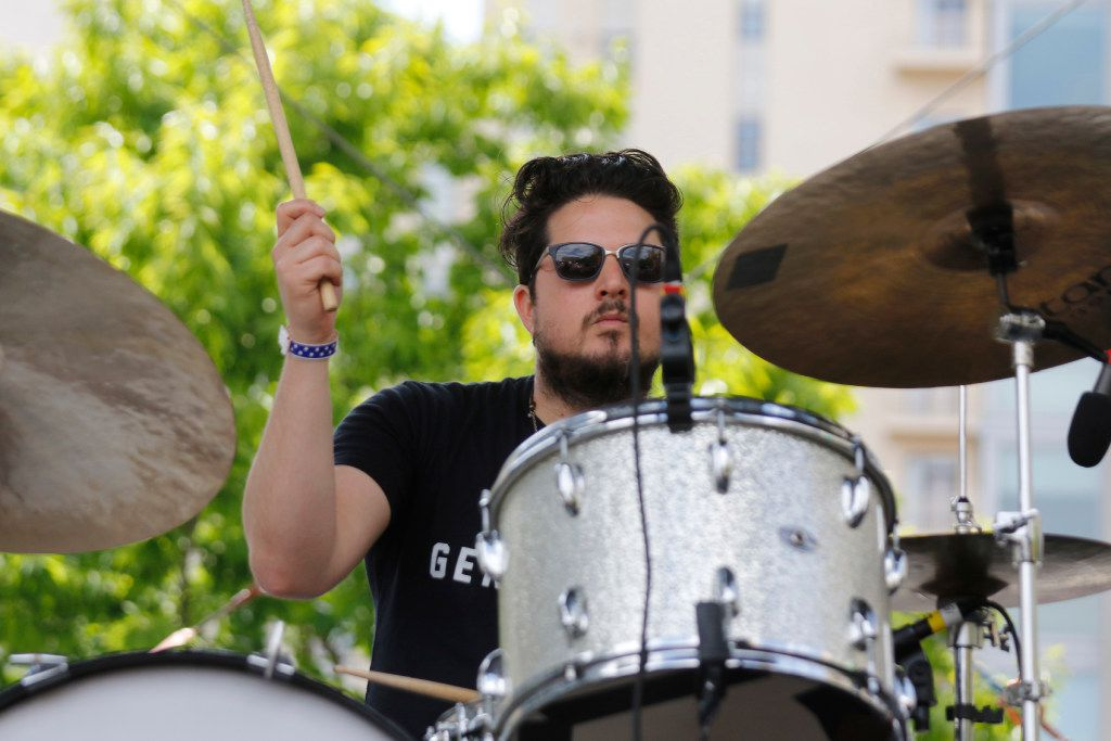 The Texas Gentlemen drummer sets the beat as they perform at the Old 97's Country Fair held at Main Street Garden in downtown Dallas Saturday April 8, 2017. (Ron Baselice/The Dallas Morning News)
