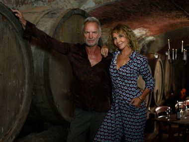 Sting and Trudie Styler in the wine cellar at Tenuta Il Palagio in Tuscany