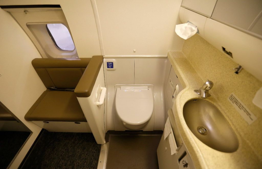 A lavatory inside the B737-700 aircraft at Hillwood Airways Hangar at Fort Worth Alliance Airport in Fort Worth, Texas, Tuesday, Aug. 8, 2017. (Jae S. Lee/The Dallas Morning News)