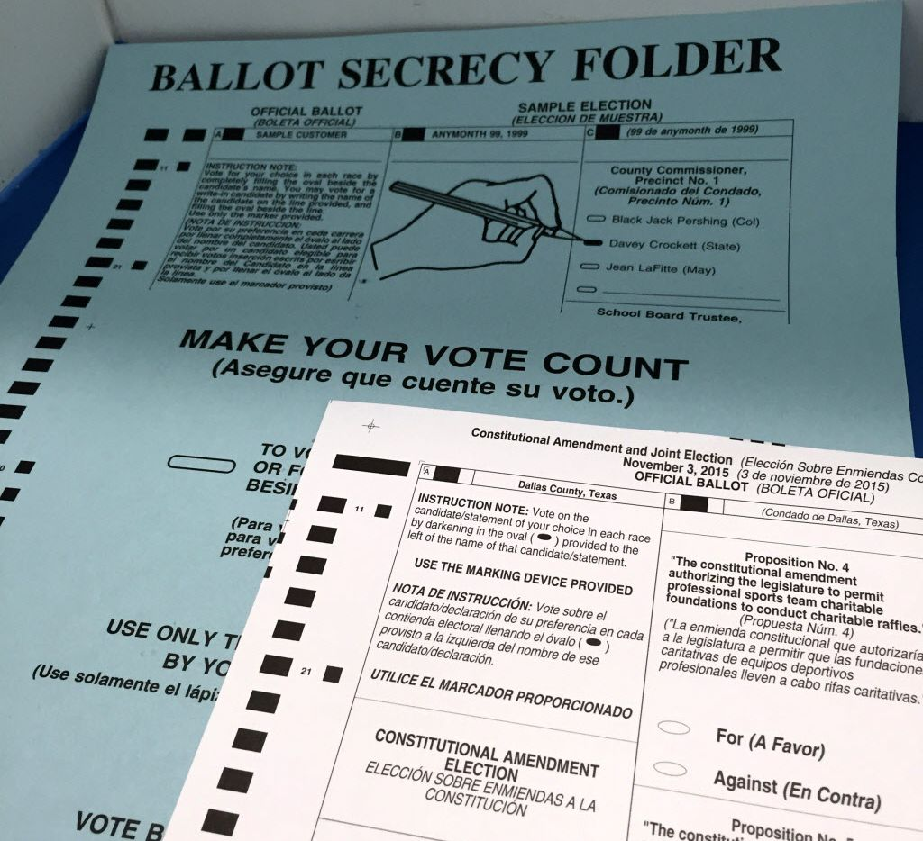 An official ballot used in the Nov. 3, 2015, election.