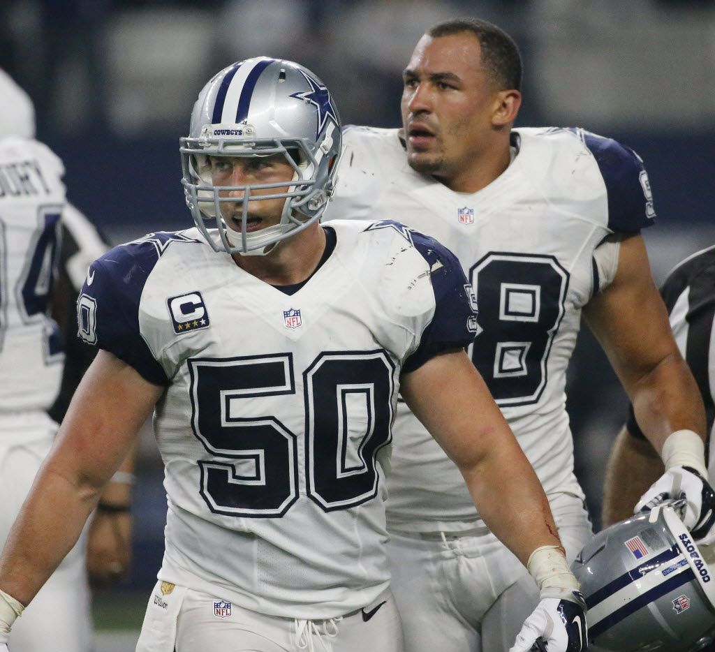 Dallas Cowboys outside linebacker Sean Lee (50) and defensive tackle Tyrone Crawford (98) are pictured during the Carolina Panthers vs. the Dallas Cowboys NFL football game at AT&T Stadium in Arlington, Texas on Thursday, November 26, 2015. (Louis DeLuca/The Dallas Morning News)