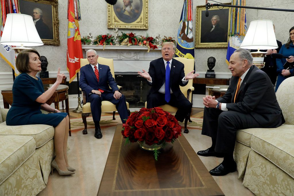 President Donald Trump and Vice President Mike Pence met with Senate Minority Leader Chuck Schumer, D-N.Y., and House Minority Leader Nancy Pelosi, D-Calif., in the Oval Office on Dec. 11.. Congress is racing to avoid a partial government shutdown over Trump's demand for a border wall.. But you wouldn't know it by the schedule. Lawmakers are away until next week. The ball is in Trump's court, both sides say.
