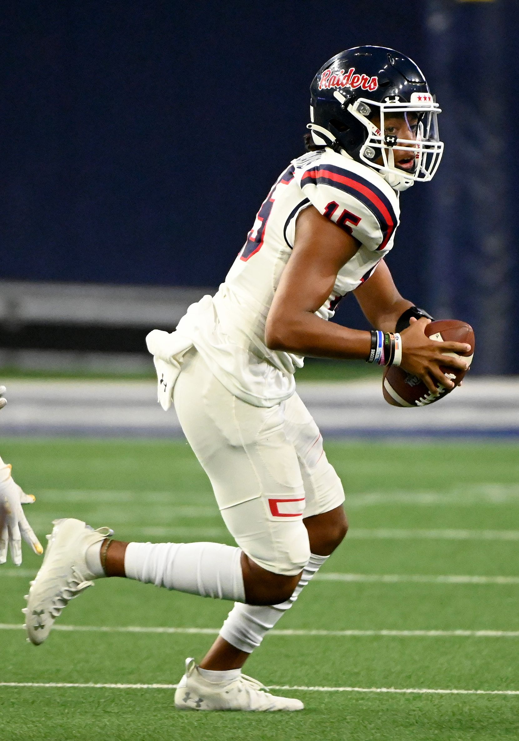 Denton Ryan's Khalon Davis looks to pass downfield in the first half during a high school football game between Longview and Denton Ryan, Saturday, Aug. 28, 2021, in Frisco, Texas. (Matt Strasen/Special Contributor)