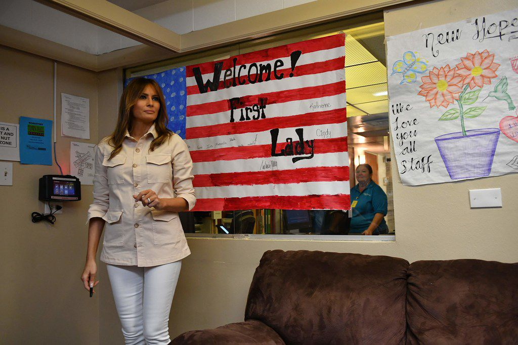 First lady Melania Trump visits the Luthern Social Services' Upbring New Hope Children's Center in McAllen.
