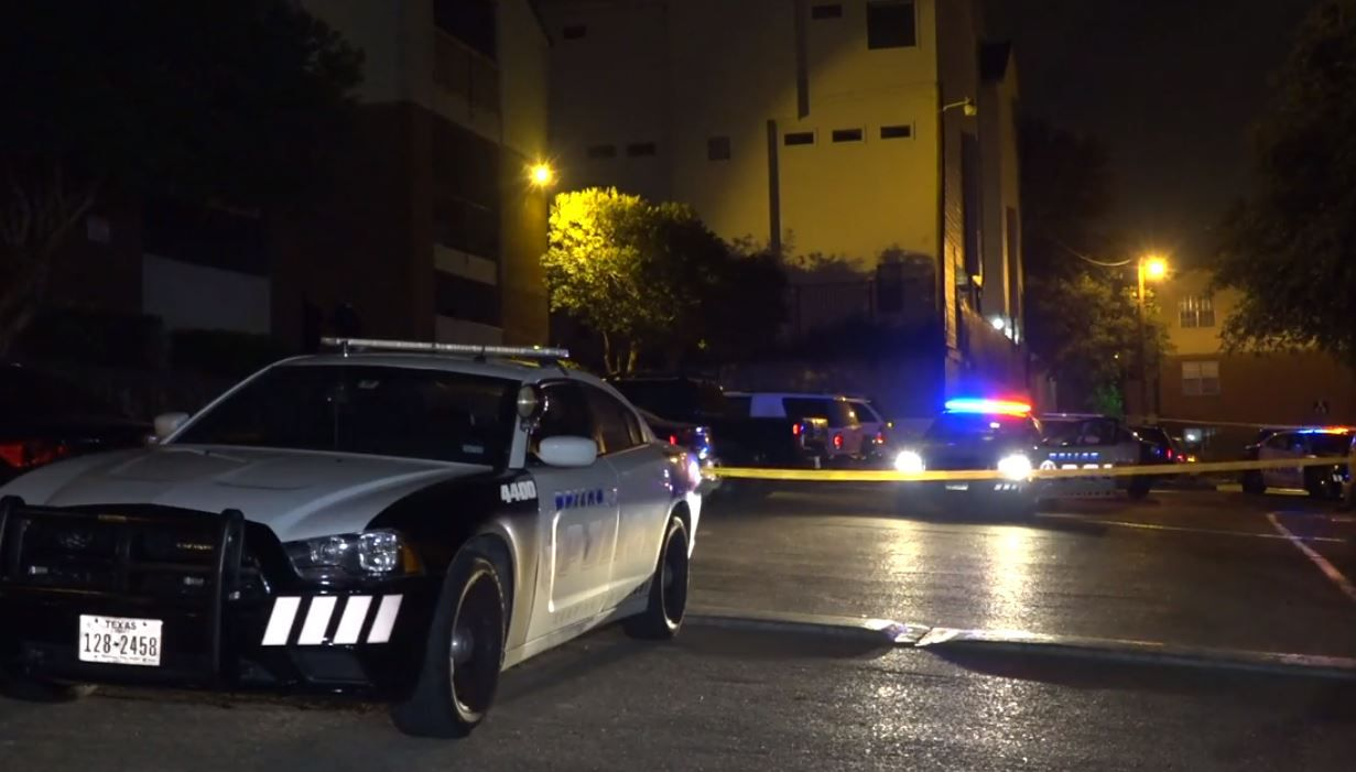 Police investigate a shooting that left two people dead at an apartment complex in the 7400 block of East Grand Avenue in Lakewood.