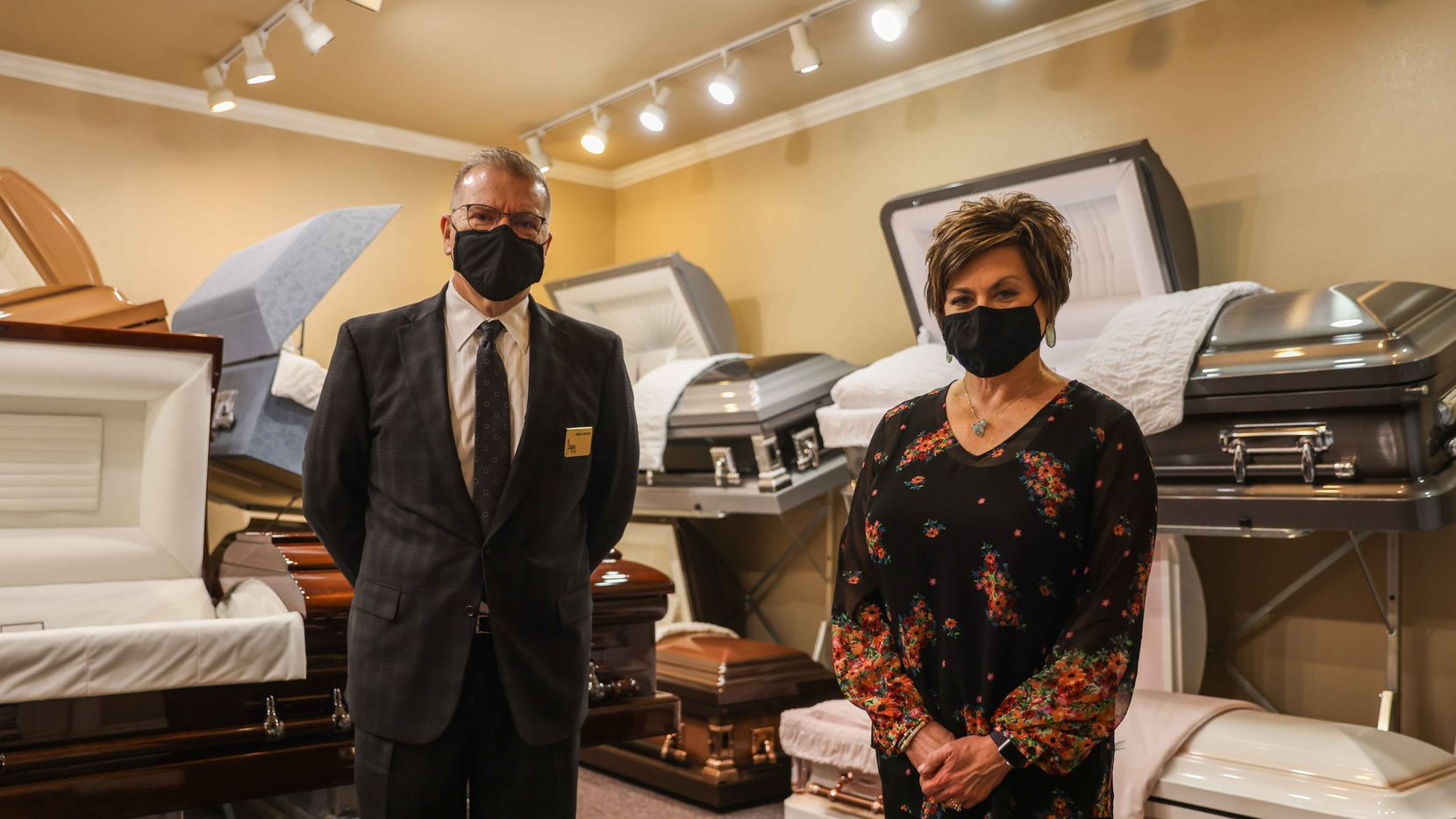 """""""We're all exhausted,"""" says funeral home director Rick Jaynes, with wife Laura at Jaynes Memorial Chapel in Duncanville. """"All of our vendors, the gravediggers, the cemetery staff."""""""