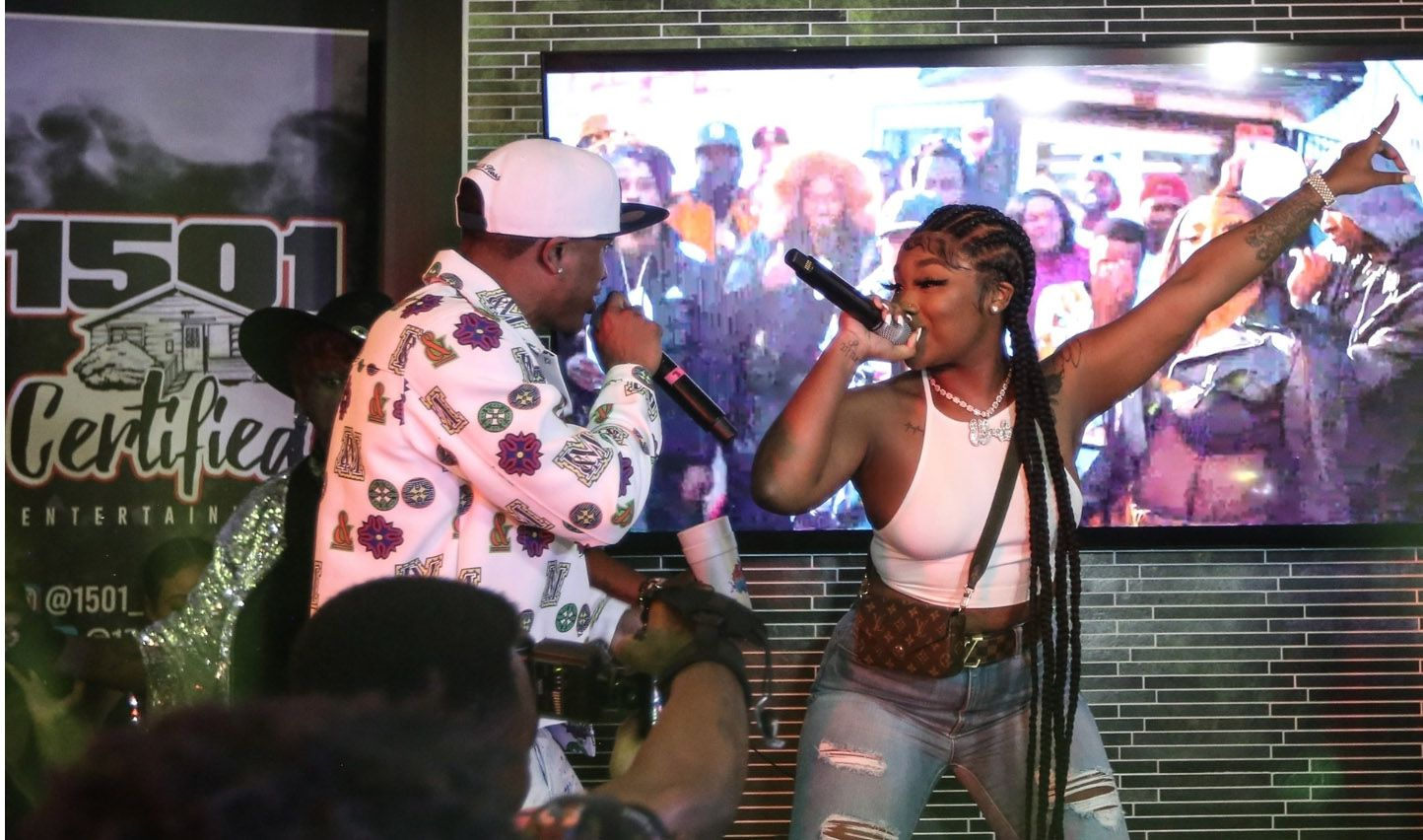 Stunna Bam and DeSoto native Erica Banks perform at The Stunna Bam Listening Session at a private estate in Houston on Feb. 26, 2021.