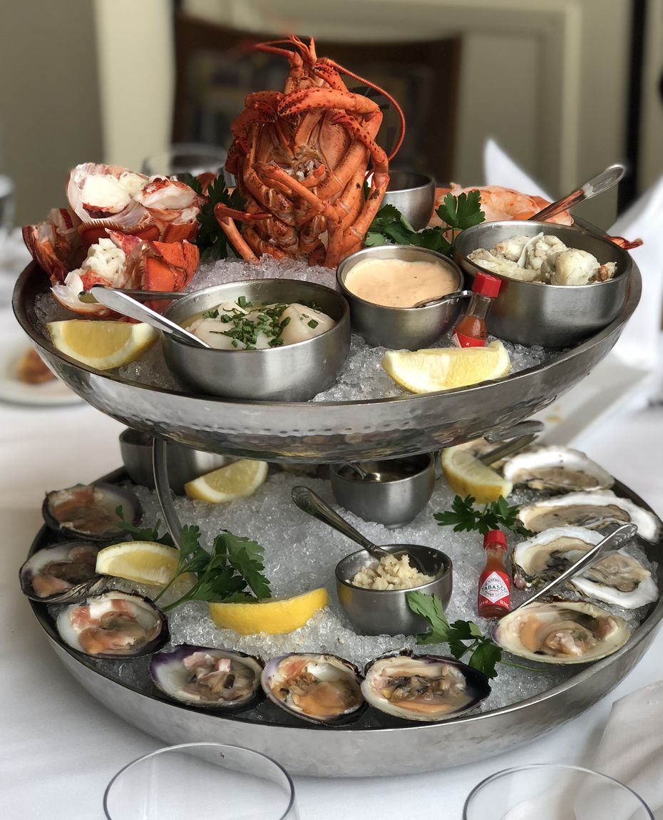 Davio's Northern Italian Steakhouse's torre di pesce is a seafood tower with lobster, crab, shrimp, oysters, clams, tuna and scallops.
