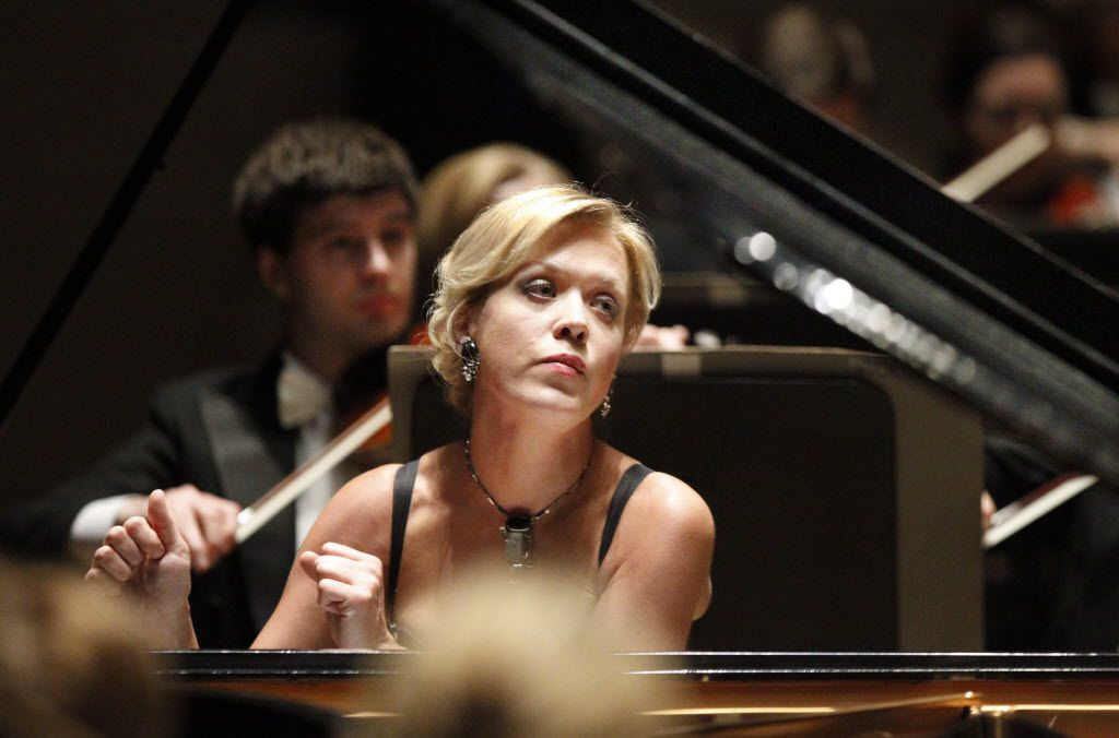 Pianist and former Van Cliburn winner Olga Kern performs Tchaikovsky's Piano Concerto No. 1 in B-flat minor for Piano and Orchestra with the Dallas Symphony Orchestra at the Meyerson Symphony Center in Dallas on March 31, 2010.