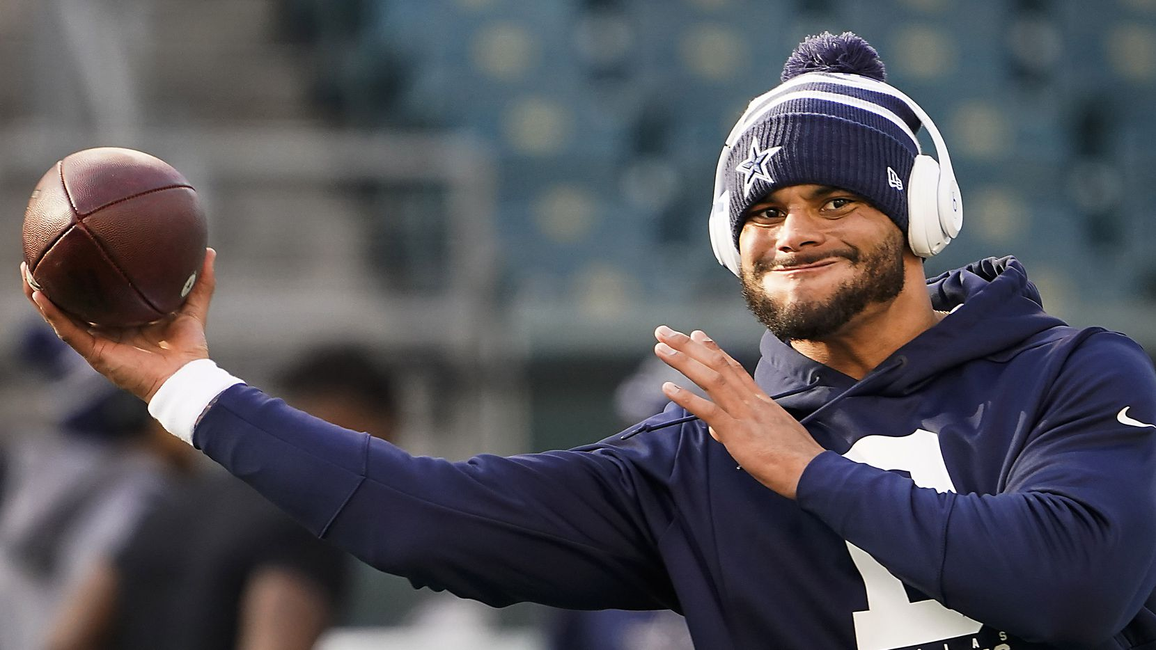 Dallas Cowboys quarterback Dak Prescott warms up before an NFL football game against the Philadelphia Eagles at Lincoln Financial Field on Sunday, Dec. 22, 2019, in Philadelphia. (Smiley N. Pool/The Dallas Morning News)