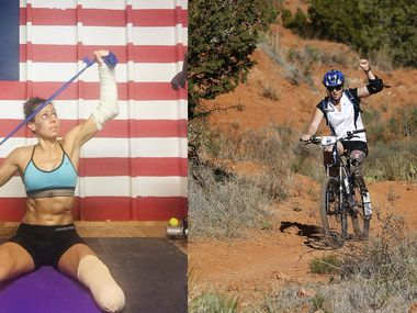 Kelly Elmlinger (left) and Melissa Stockwell (right) are members of the U.S. Paralympics Triathlon Team.