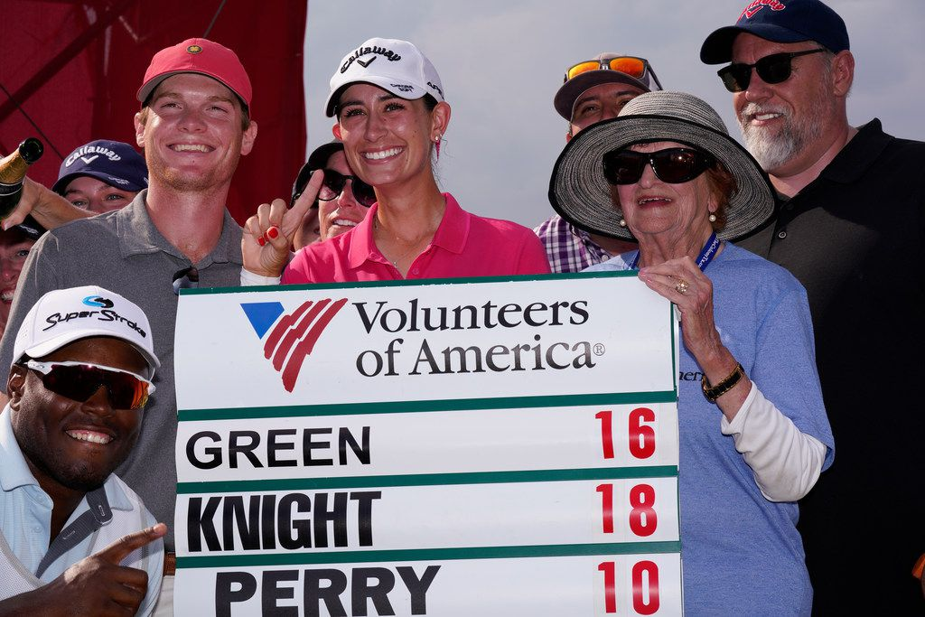 THE COLONY, TX - OCTOBER 06: Cheyenne Knight (C) celebrates with her caddie and friends after winning the Volunteers of America Classic golf tournament at the Old American Golf Club on October 6, 2019 in The Colony, Texas. (Photo by Chuck Burton/Getty Images)