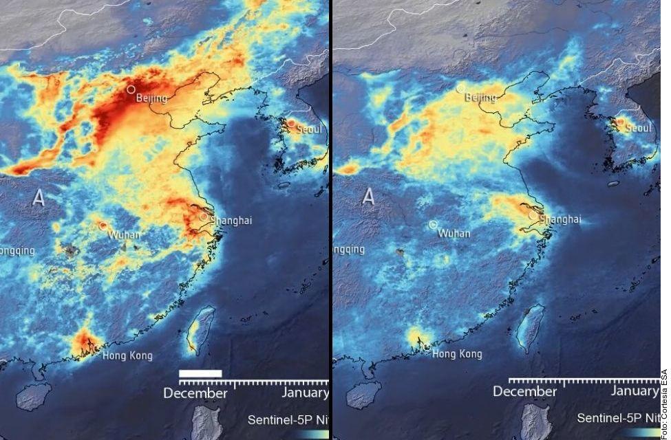La concentración del dióxido de nitrógeno (NO2) en China se redujo hasta 40 por ciento debido a las consecuencias del covid-19.
