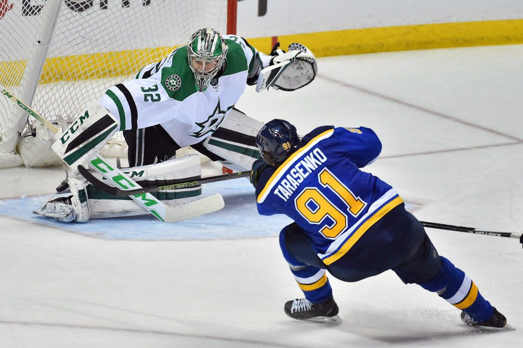 May 3, 2016; St. Louis, MO, USA; Dallas Stars goalie Kari Lehtonen (32) blocks the shot of St. Louis Blues right wing Vladimir Tarasenko (91) during the third period in game three of the second round of the 2016 Stanley Cup Playoffs at Scottrade Center. The St. Louis Blues defeat the Dallas Stars 6-1. Mandatory Credit: Jasen Vinlove-USA TODAY Sports ORG XMIT: USATSI-268848