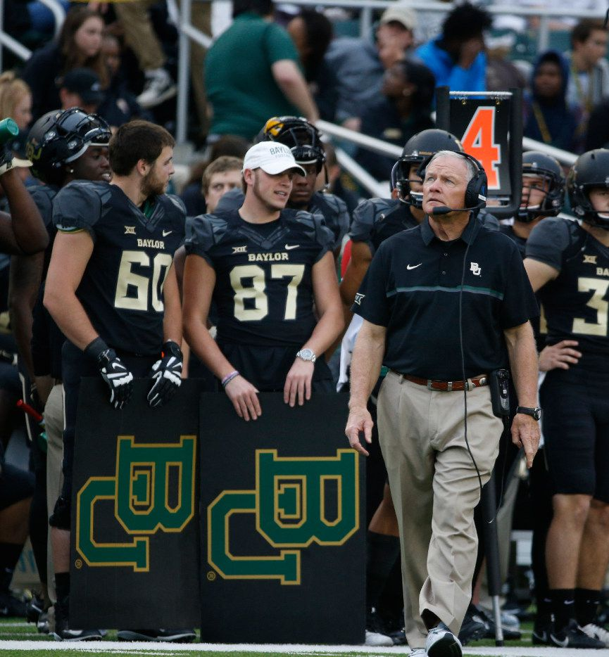 Baylor Bears head coach Jim Grobe looks at a replay during their game against the TCU Horned Frogs in the first half at McLane Stadium in Waco, Texas on Nov. 5, 2016.  TCU was leading 38-14 at the half. (Nathan Hunsinger/The Dallas Morning News)