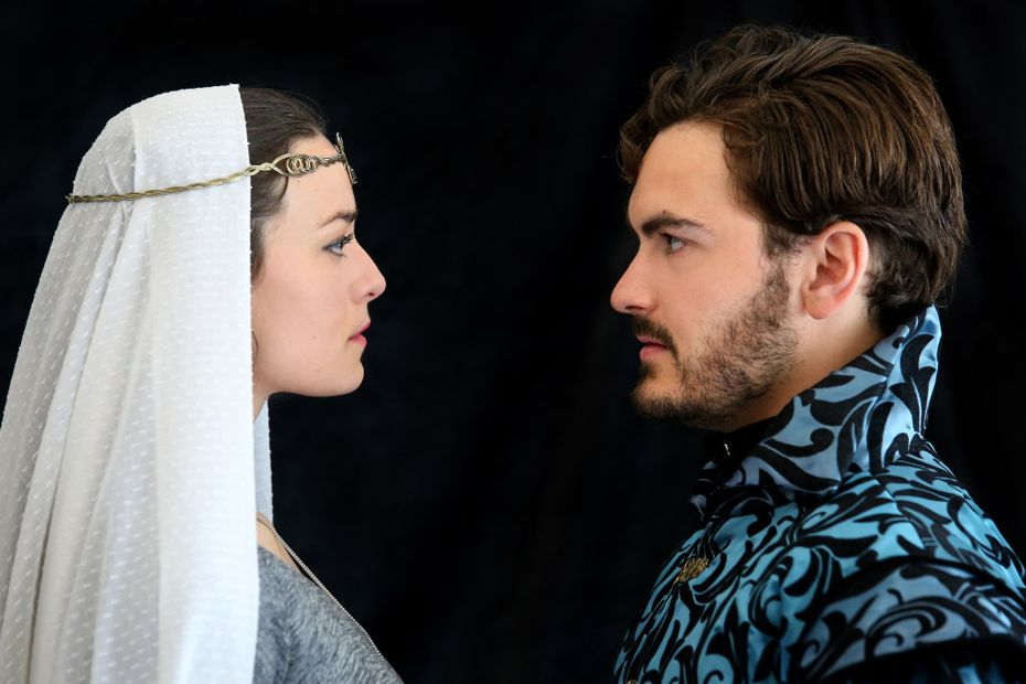 Kelsey Milbourn and Montgomery Sutton in Trinity Shakespeare Festival's Measure for Measure  at the Buschman Theatre on the campus of Texas Christian University in Fort Worth through July 2.