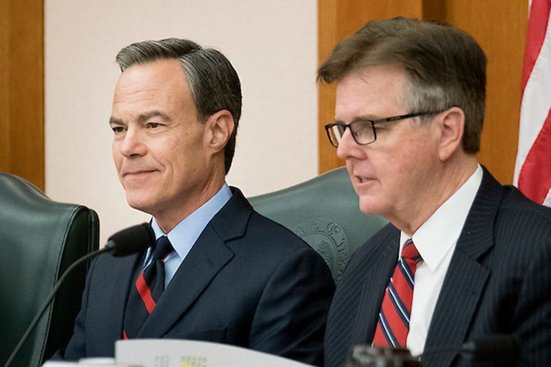 "Speaker Joe Straus, left, has asked Lt. Gov. Dan Patrick and the Senate to cooperate with the House on quickly passing a two-year state budget and a sunset ""safety net"" bill that can keep key state agencies open for another two years. That way, lawmakers can finish their work by May 29 and avoid a special session, Straus wrote Patrick Monday."