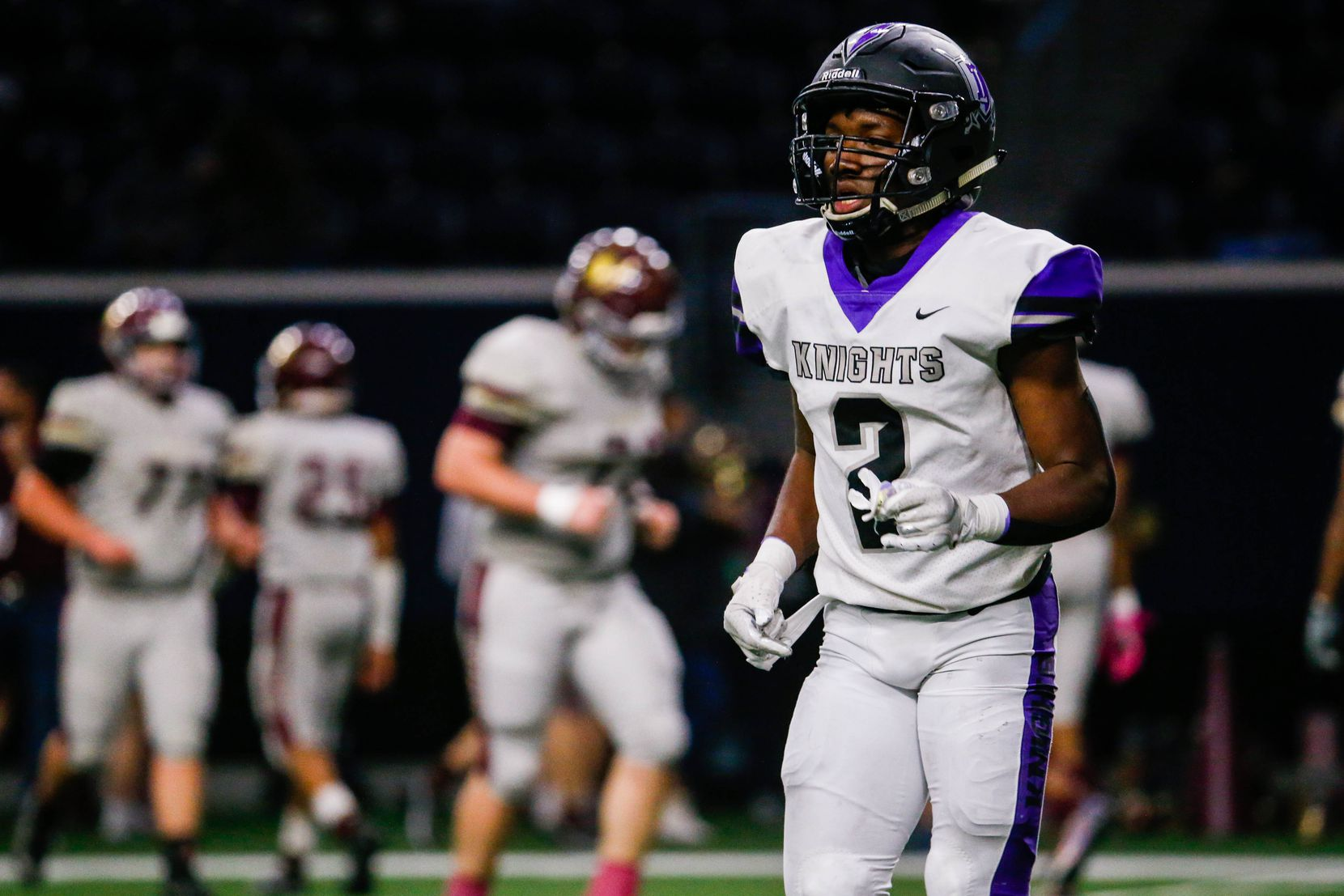 Frisco Independence's Zhighlil Mcmillan (2) runs off the field after a play against Frisco Heritage during the second half of a game at the Ford Center at the Star in Frisco on Thursday, Dec. 3, 2020. (Juan Figueroa/ The Dallas Morning News)