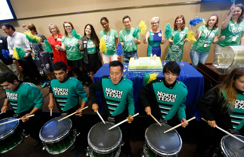 The UNT drumline plays during the kickoff for the 10th annual North Texas Giving Day at Communities Foundation of Texas in Dallas on Sept. 10, 2018.  (Nathan Hunsinger/The Dallas Morning News)