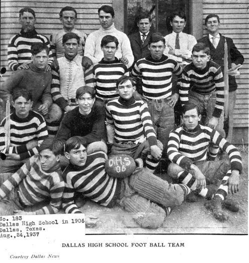 Dallas High School football team in 1906. From information on back of photo, front row, from left: Ted Weston, Charlie Dealey, Ray Bregg; second row: Seth Simmons, Ben Bailey and Mays Bassett; third row: Louis Brown, J.C. Tenison, Clarence Breg, Landon Cullum and Allen T. Bassett. Back row: Dr. R.A. Trumbull, John Bookhout, Thomas Munger, Bert Adoue, Stafford Kelley and J. D. Cullum.