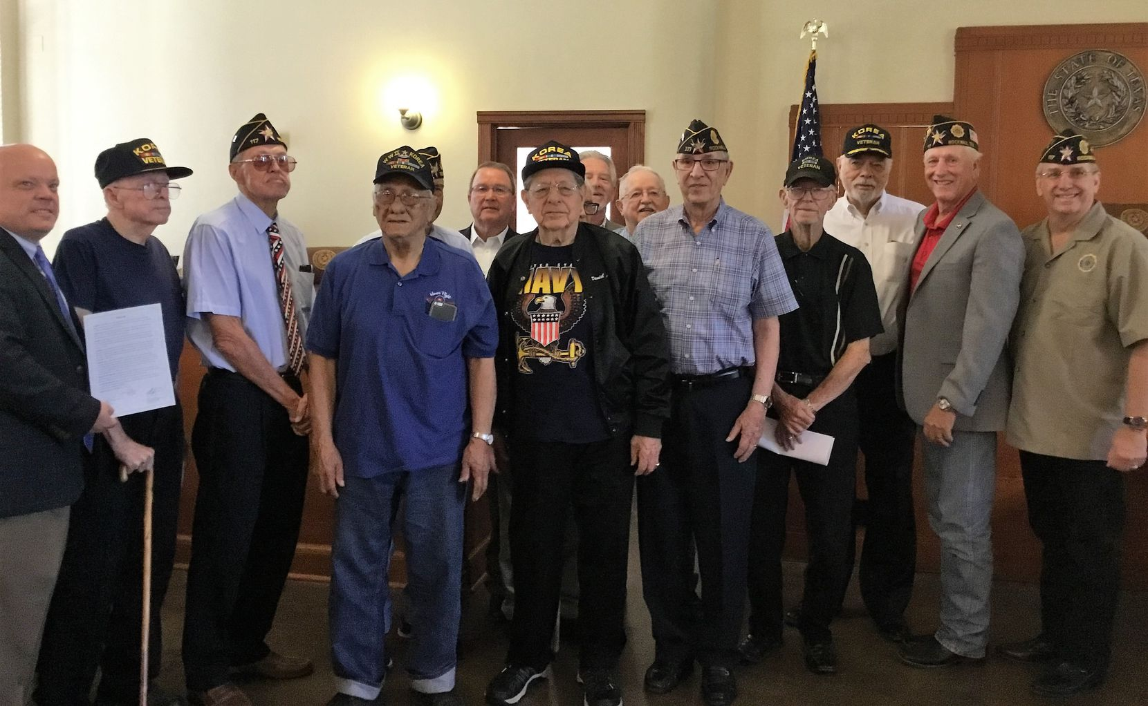 Rockwall County Commissioners Court and American Legion Terry Fisher Post 117 of Rockwall officials honor Korean War veterans at a Commissioners Court  meeting last month. Courtesy of Commissioners Court.