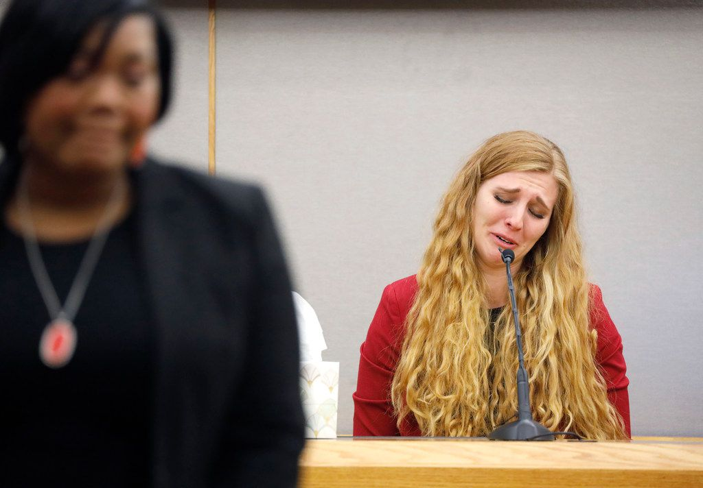 Alexis Stossel cries Wednesday while reminiscing about Botham Jean, her close friend from college during the sentencing phase of Amber Guyger's murder trial