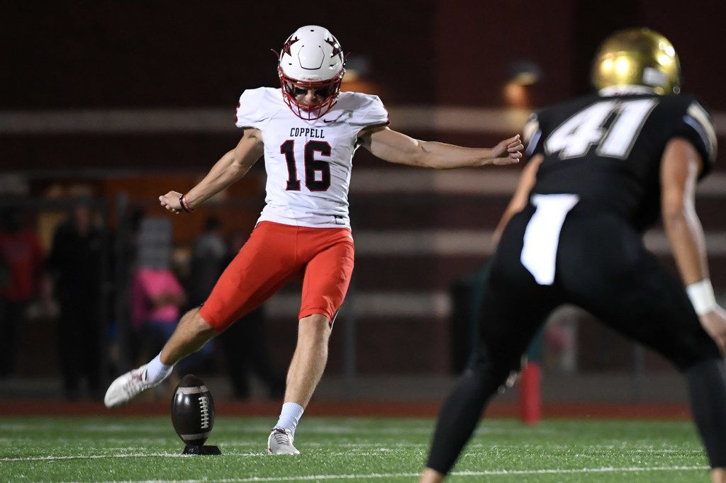 Coppell senior placekicker Caden Davis (16) kicks off during the first half of a high school football game on Friday, October 26, 2018 at Joy and Ralph Ellis Stadium in Irving, Texas. Coppell won 48-13. (Jeffrey McWhorter/Special Contributor)