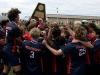 Frisco Wakeland players celebrate after their UIL 5A boys State championship soccer game against Humble Kingwood Park at Birkelbach Field on April 17, 2021 in Georgetown, Texas. Frisco Wakeland won 3-2.