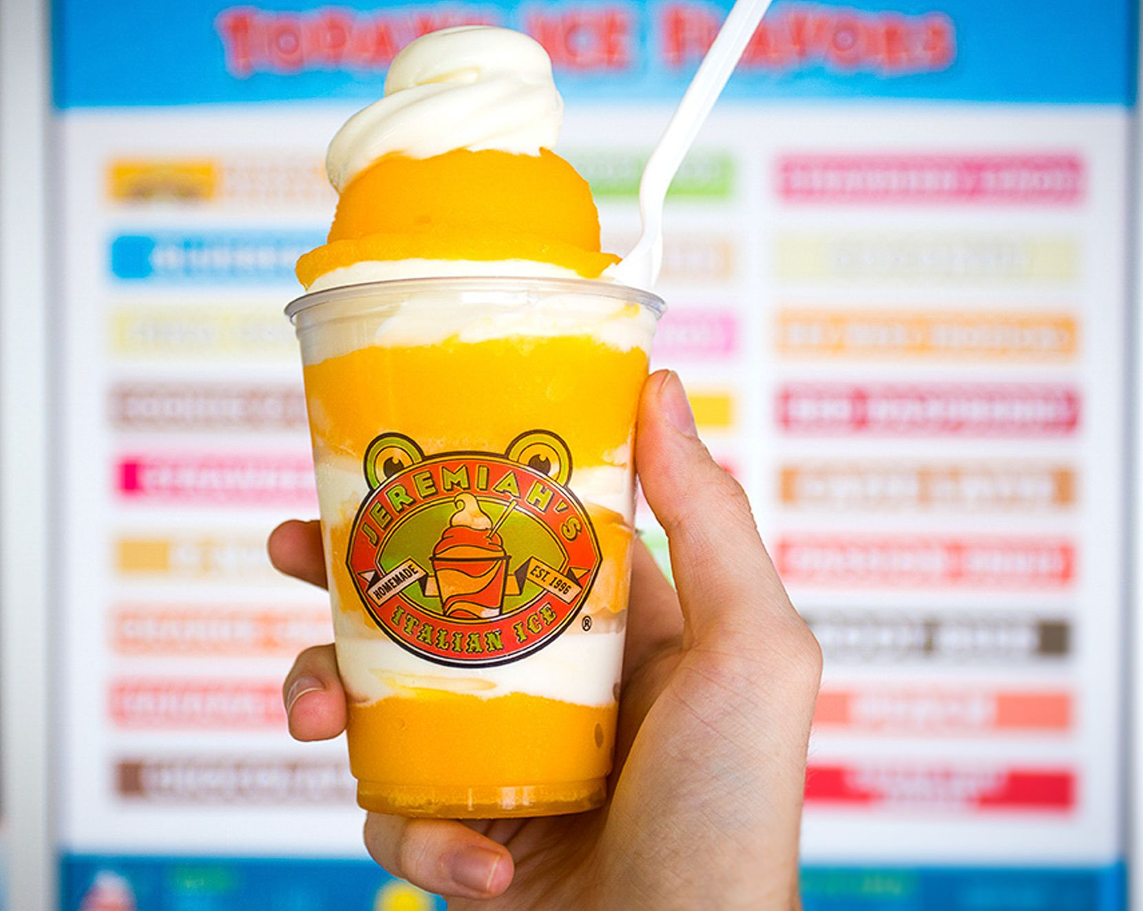 Jeremiah's Italian Ice serves smooth, flavored ice desserts swirled with soft-serve ice cream. The first Jeremiah's in Texas is expected to open in McKinney in June 2020. //we have permission to use this photo//