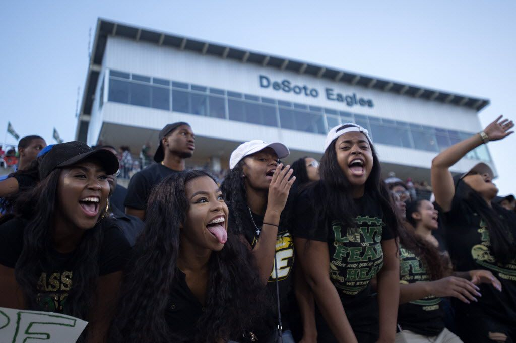 DeSoto seniors Ariel Levine, Keaira Hawkins, Kai'la Williams and Trinity Gooden (left to right) cheer their team on against Denton Guyer during the first half of a high school football game at Eagle Stadium in DeSoto, Texas, Friday, September 2, 2016. (Jeffrey McWhorter/Special Contributor)