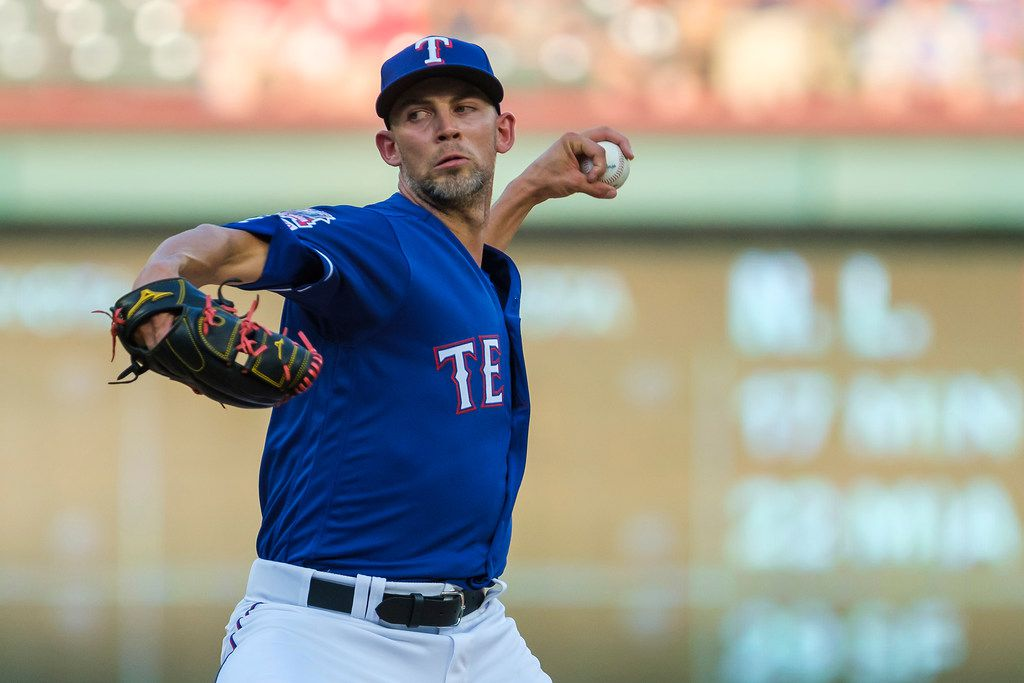 Texas Rangers starting pitcher Mike Minor delivers during the first inning against the Seattle Mariners at Globe Life Park on Wednesday, July 31, 2019, in Arlington. (Smiley N. Pool/The Dallas Morning News)
