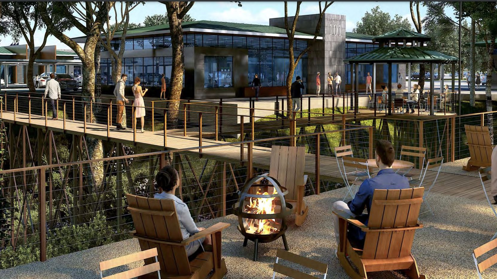 The Enclave in Frisco office campus would have creekside walking trails and patio areas.