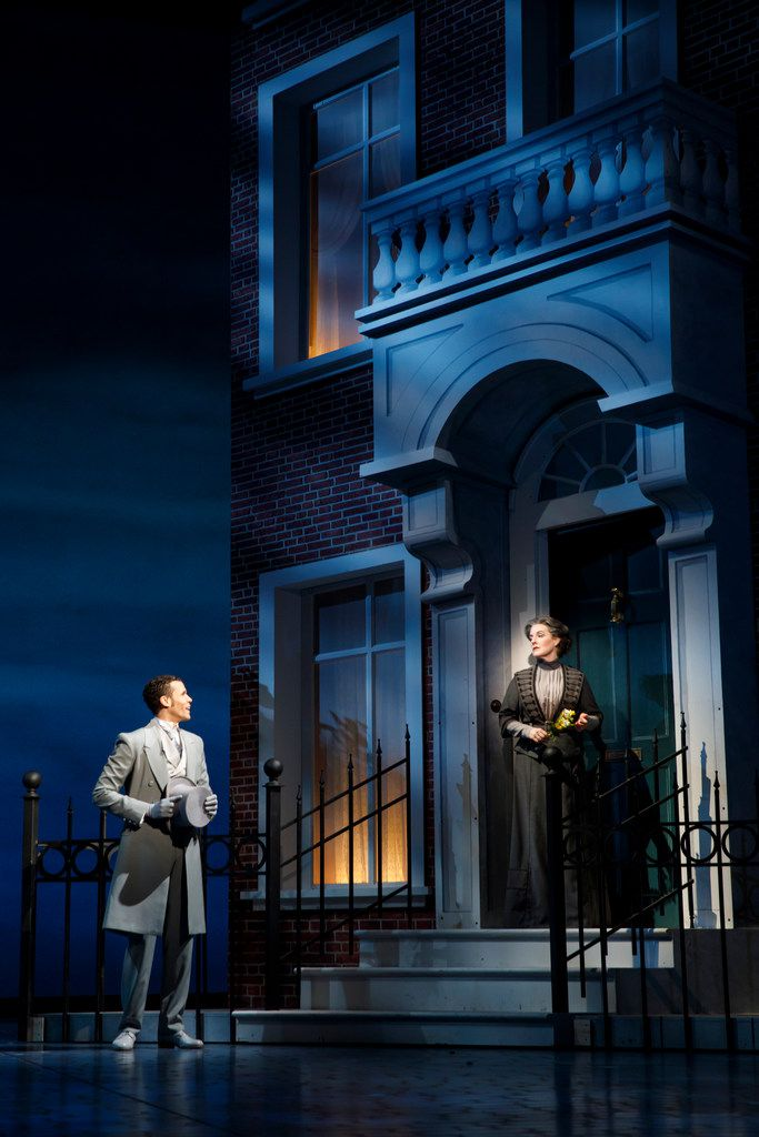 Jordan Donica and Linda Mugleston perform in My Fair Lady, presented by Lincoln Center Theater in New York City, with 2018 Tony Award-nominated sets by Dallas native and two-time Tony winner Michael Yeargan.