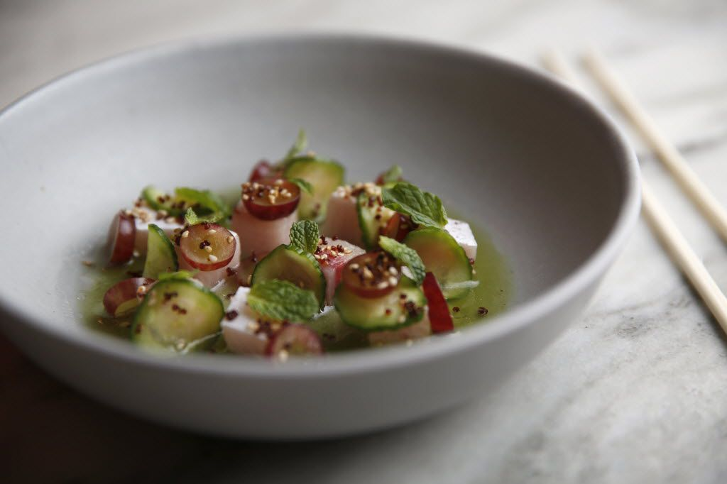 Hamachi crudo with cucumber, grape and candied quinoa