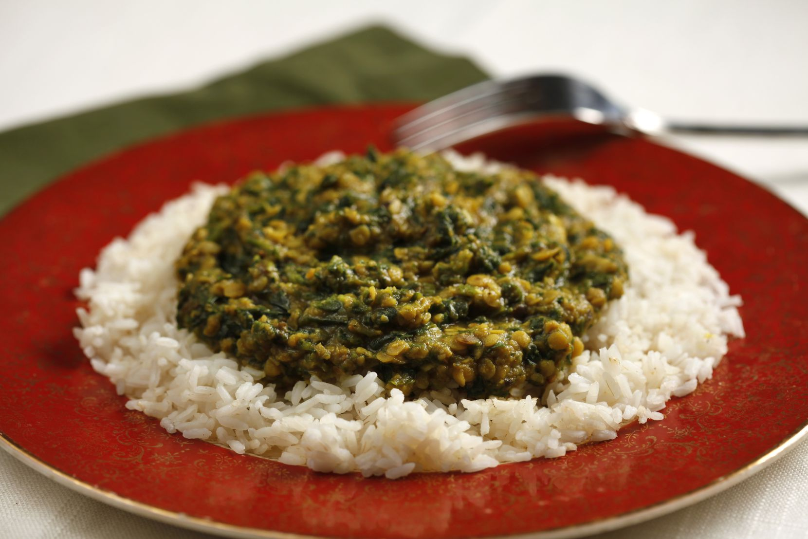 Curried Lentils with Spinach