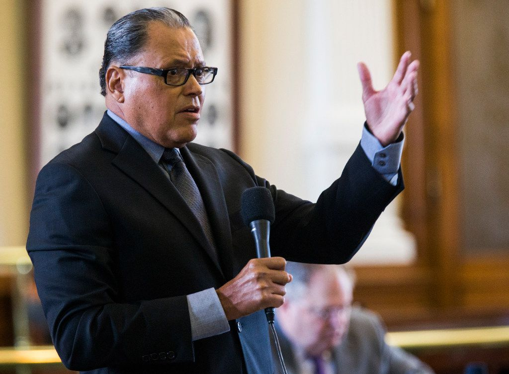Senator Jose Rodriguez of El Paso argues a point of order during the first day of a legislative special session on Tuesday, July 18, 2017 at the Texas state capitol in Austin, Texas.