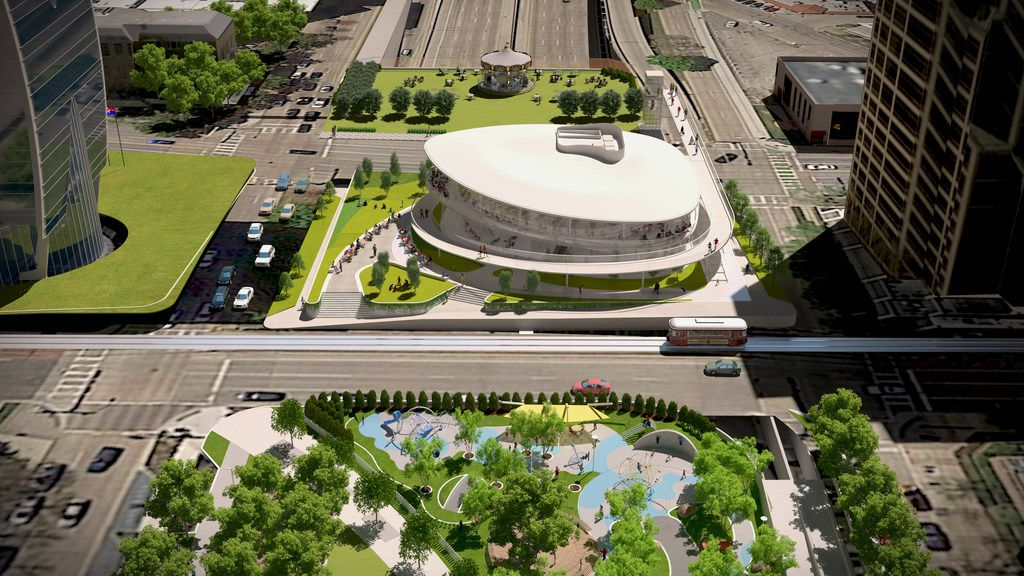 Renderings show the planned expansion of Klyde Warren Park in Dallas, including a building that would be the headquarters of VisitDallas.