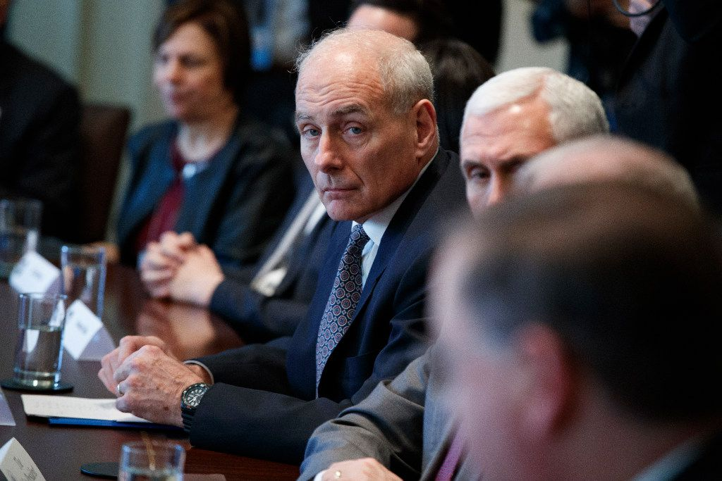 Homeland Security Secretary John Kelly listens during a session with President Donald Trump on opioid and drug abuse, Wednesday, March 29, 2107, in the Cabinet Room of the White House in Washington. (AP Photo/Evan Vucci)