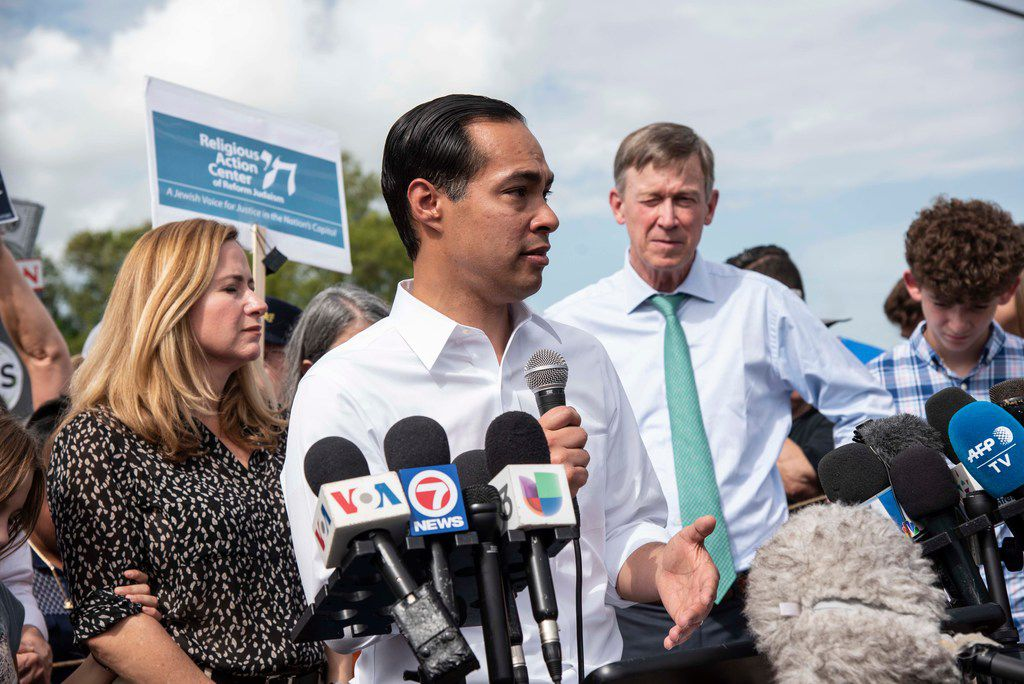 Democratic presidential candidate Julian Castro talked to media outside of the Homestead Detention Center on June 28, 2019, in Homestead, Fla.