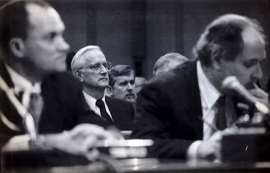 William Sessions, center, director of the FBI, before he was fired by President Bill Clinton, during a Congressional hearing, March 9, 1993. Sessions had been the only director fired in the FBI's 109-year history until President Donald Trump fired James Comey on Tuesday.